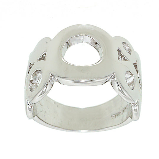 Big and Little Circles Wide Rhodium Band Style Ring