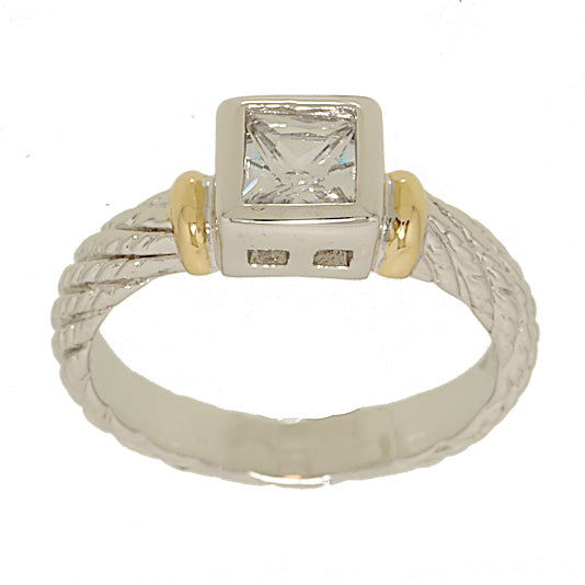 Special Two Tone Twisted Bezel Set Princess Cut Solitaire Ring