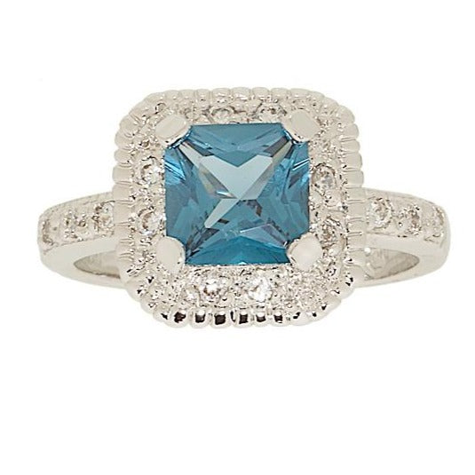 Classic Engagement Style Princess Cut Blue Zircon Ring