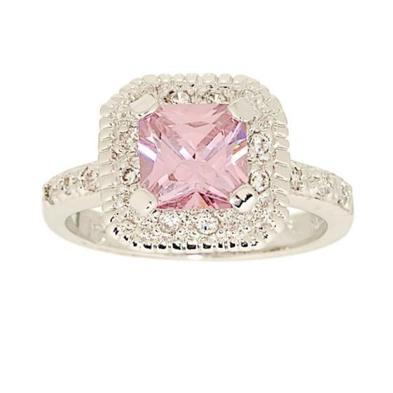 Classic Engagement Style Pink Princess Cut Ring