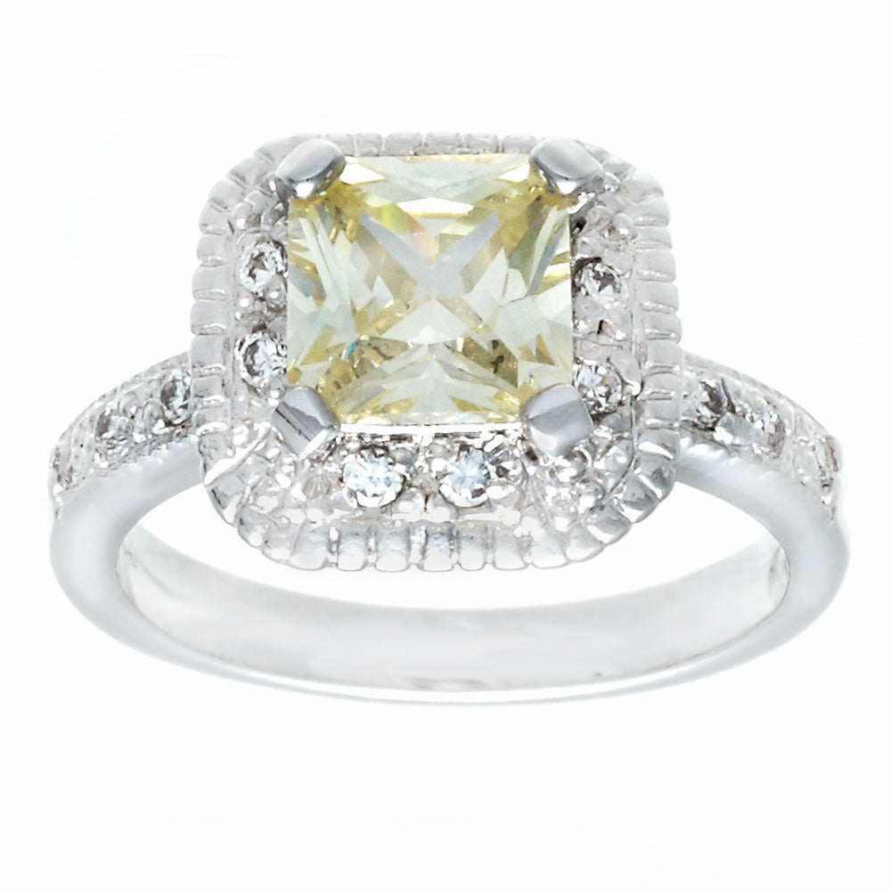 Classic Engagement Pale Yellow Princess Cut Ring