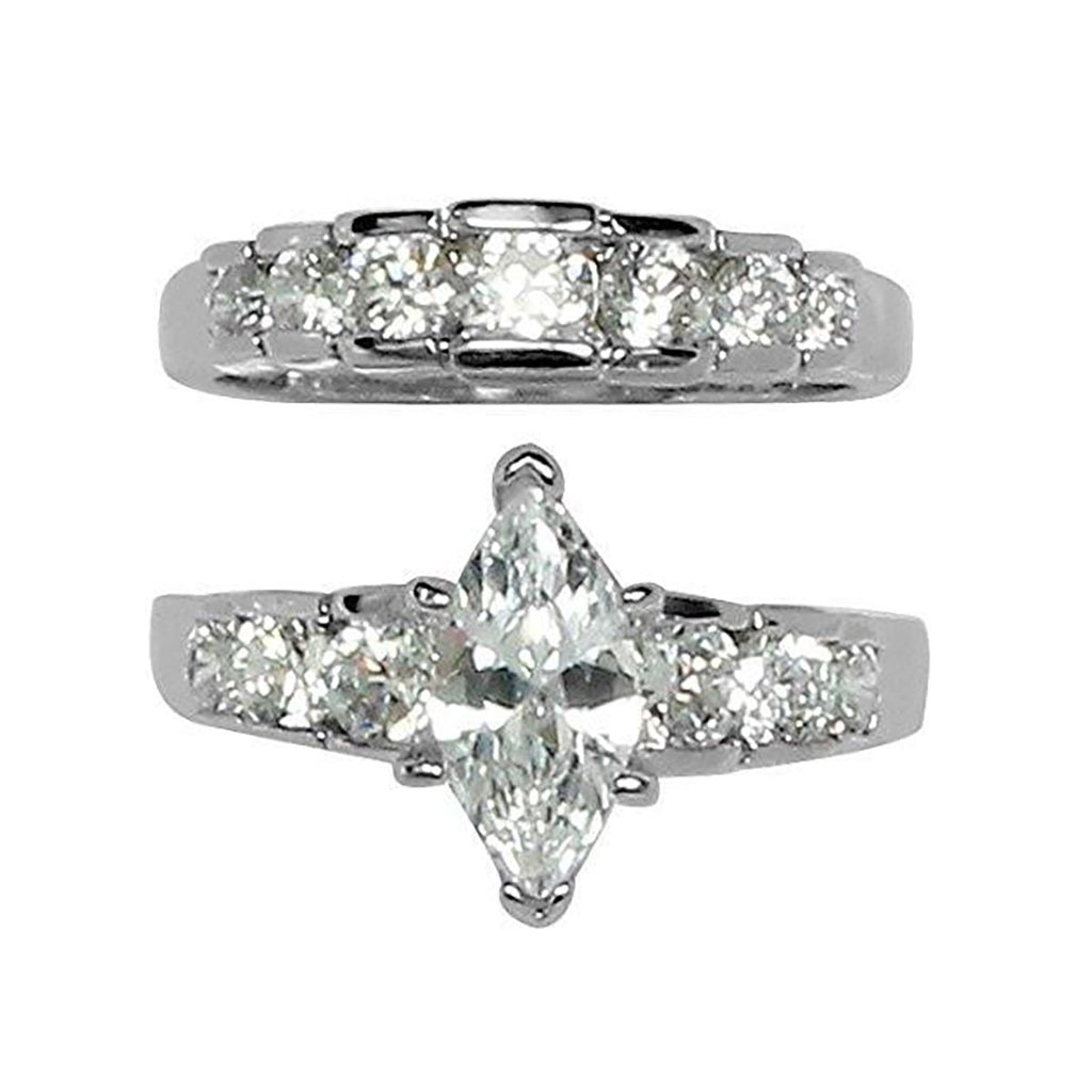 Large Prong Set Marquise Cut Wedding Set Rings