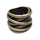 Very Wide Twisted Band Oxidized Illusion Ring