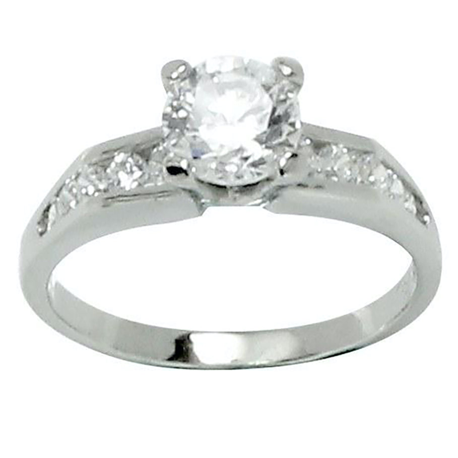 Classic Style Prong Set Engagement Side Stone Accent Ring