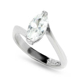 Marquise Cut Clear Stone Engagement Twisted Setting Ring