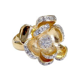 Pretty Gold Two Tone Flower Tiny Clear Stones Ring
