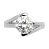 Brilliant Round CZ Solitaire Engagement Style Stainless Steel Ring