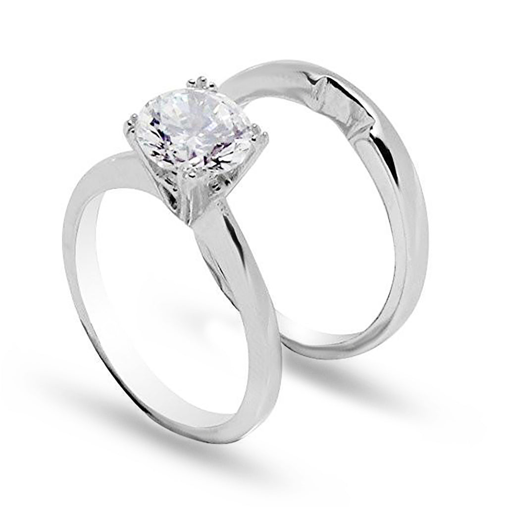 Classic Prong Set Round Stone Wedding Set Style Ring