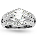 Round Prong Wedding Set Guard 20 Accent Stones Ring