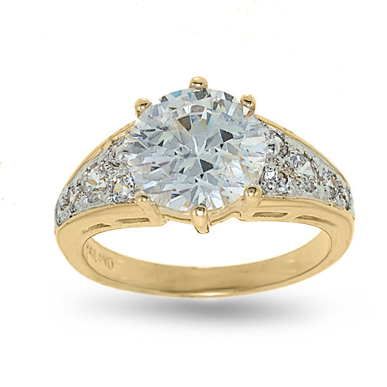 Classic Low Set Solitaire Two Tone Pave Set Ring