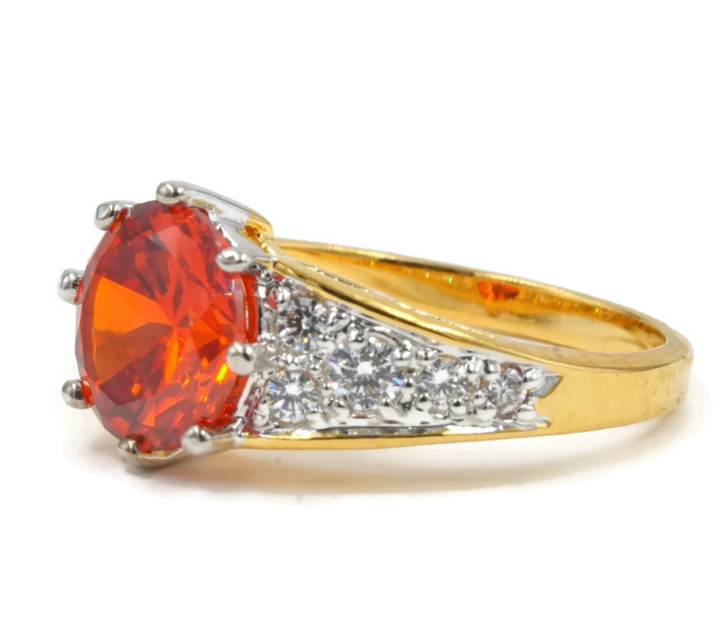 Classic Understated Handset Solitaire Vivid Orange Stone Ring