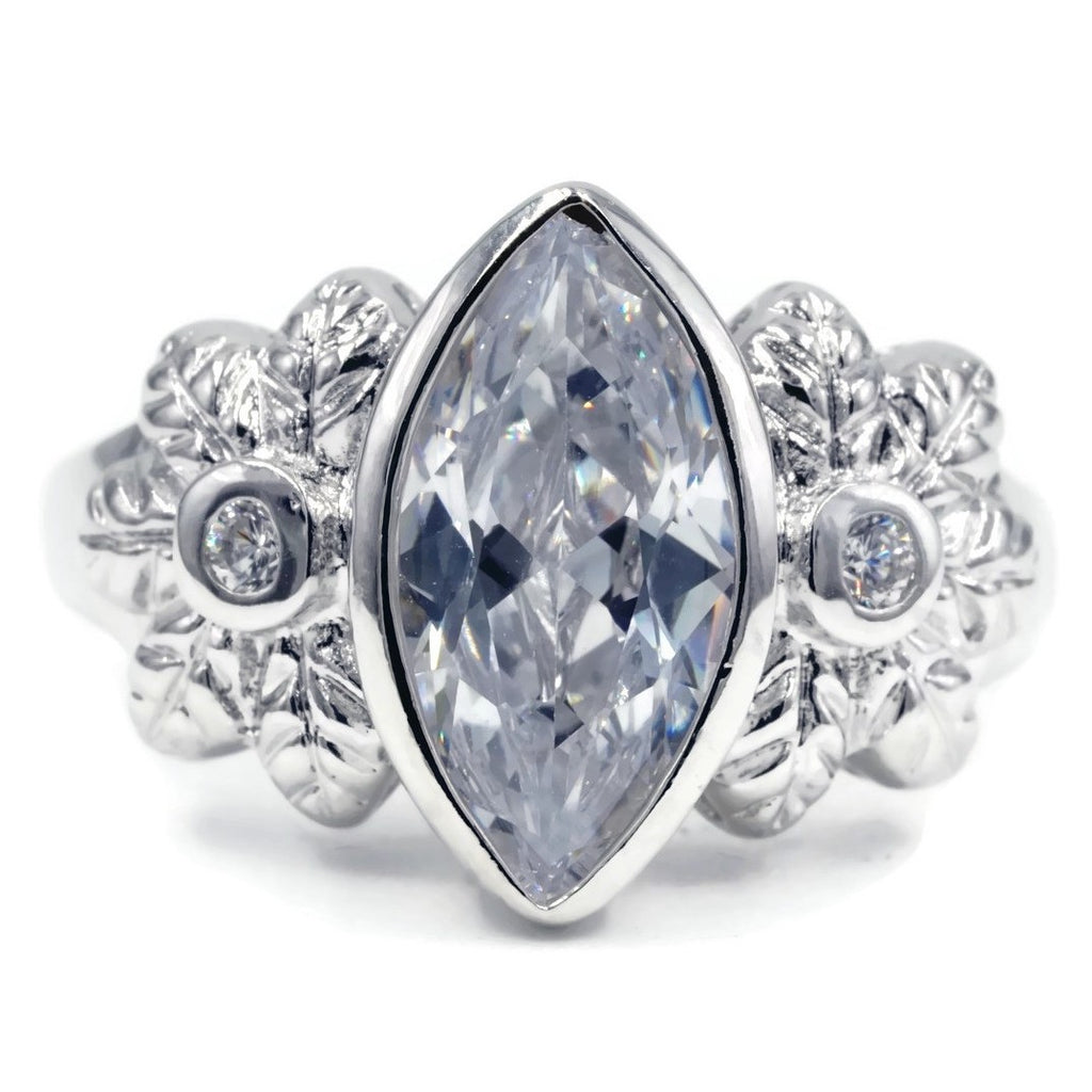 Large Bezel Set Marquise Flower Detail Statement Ring
