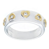 Special Framed Hearts Two Tone Clear Stones Ring
