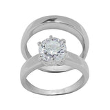 Large 6-Prong Round Solitaire Wedding Set Style Rings