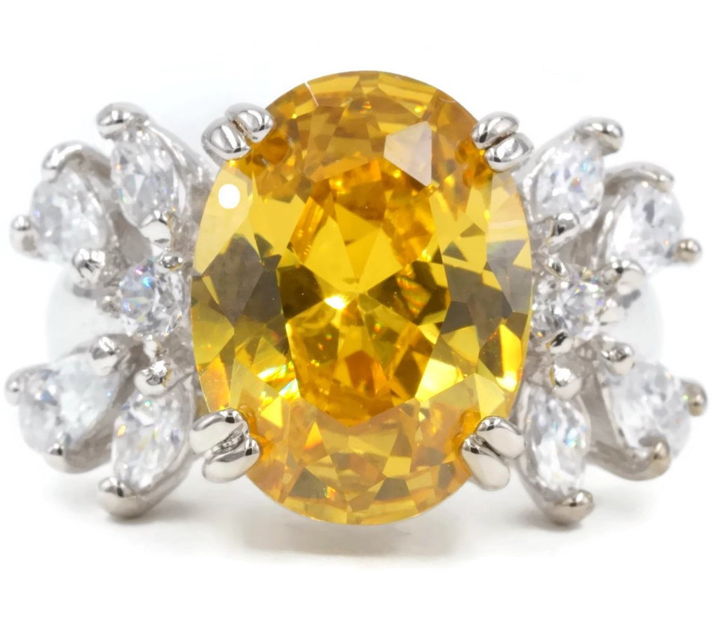 Large Oval Cocktail Cluster Bright Yellow Stone