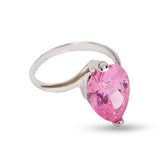 Large Sterling Silver Pink Pear Shape Solitaire Ring
