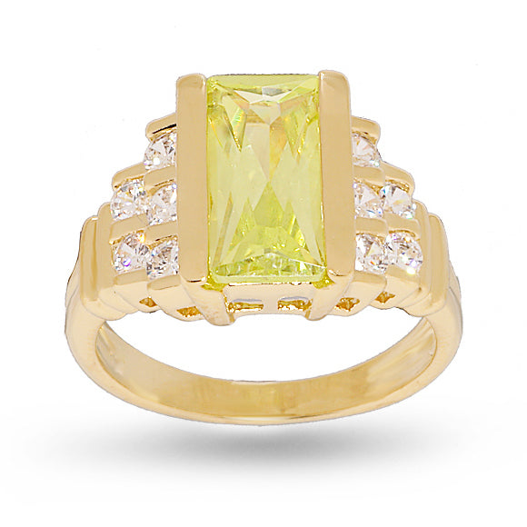 Contemporary Fancy Cut Bright Lemon Green Step Design Ring