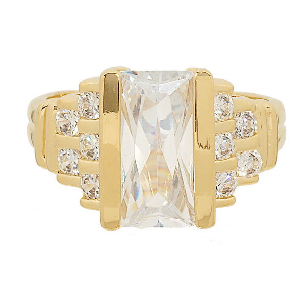 Contemporary Fancy Cut All Clear Stones Fashion Ring Step Design Ring