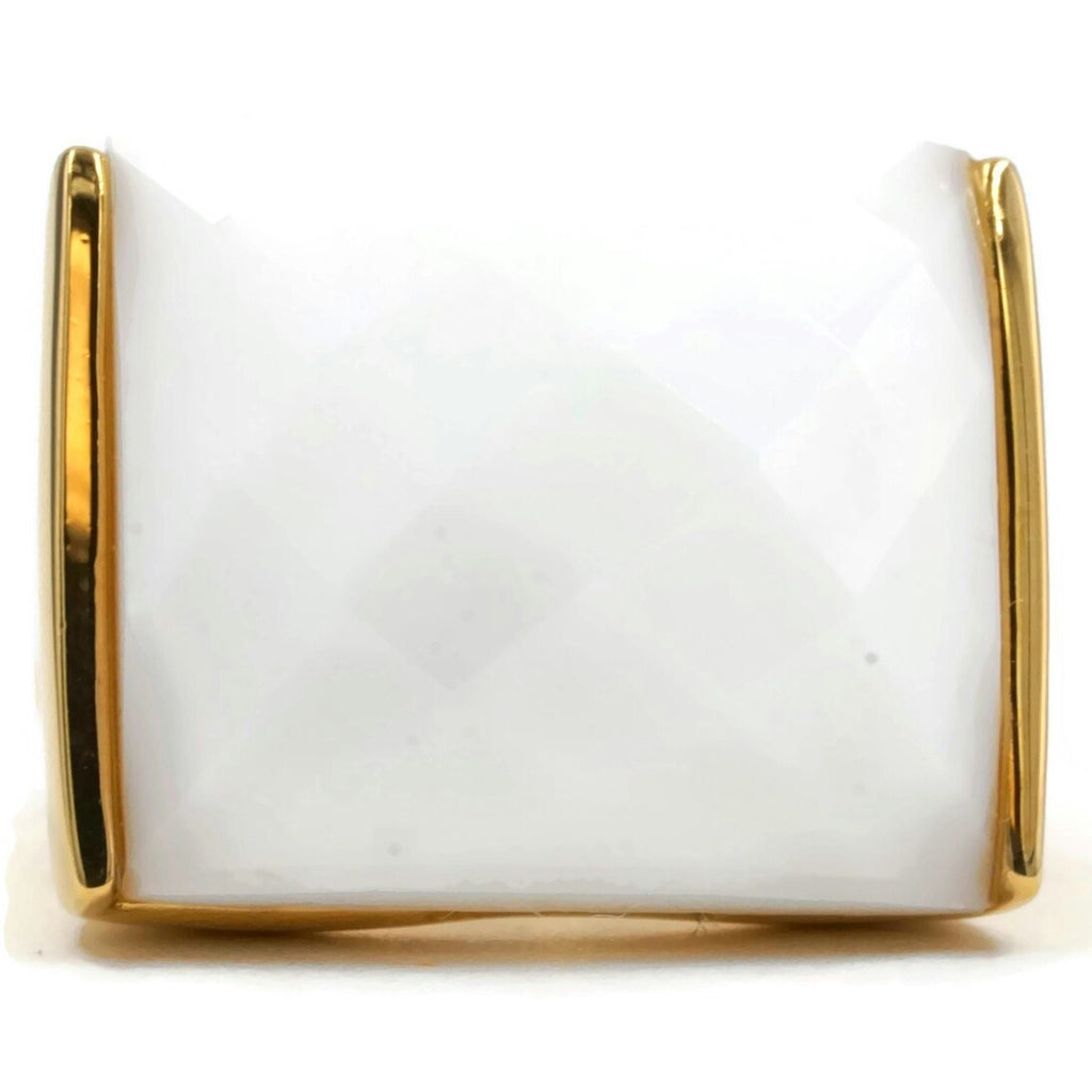 Flashy Rectangular Large White Center Stone Ring