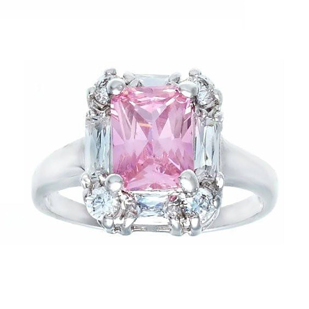 Beautiful Polished Emerald Cut Pink Stone Baguette Ring