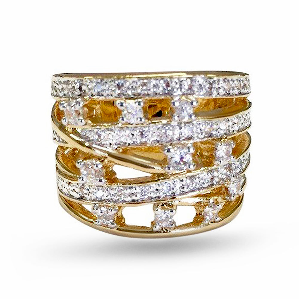 Dazzling Caged Two Tone Accent Ring