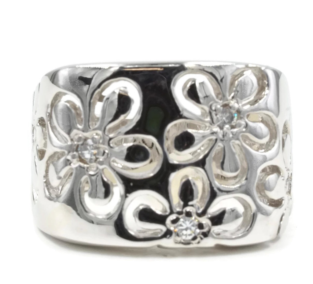 Bold Cutout Daisy Silvertone Fashion Ring with Tiny Cubic Zirconia