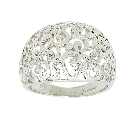 Cutout Dome Ring in Polished Rhodium Plated Brass