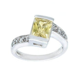 Contemporary Pale Yellow Emerald Cut Channel Set Angle Ring