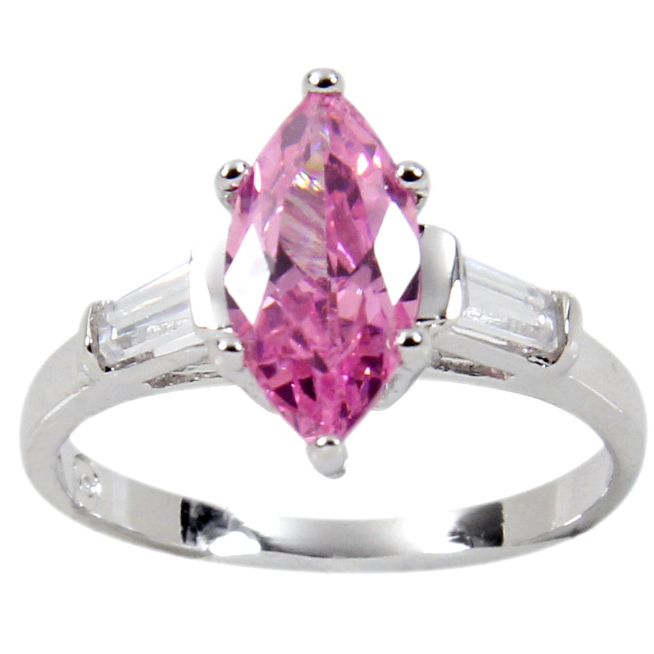 Sterling Silver Luscious Pink Marquise Tapered Side Baguettes Ring