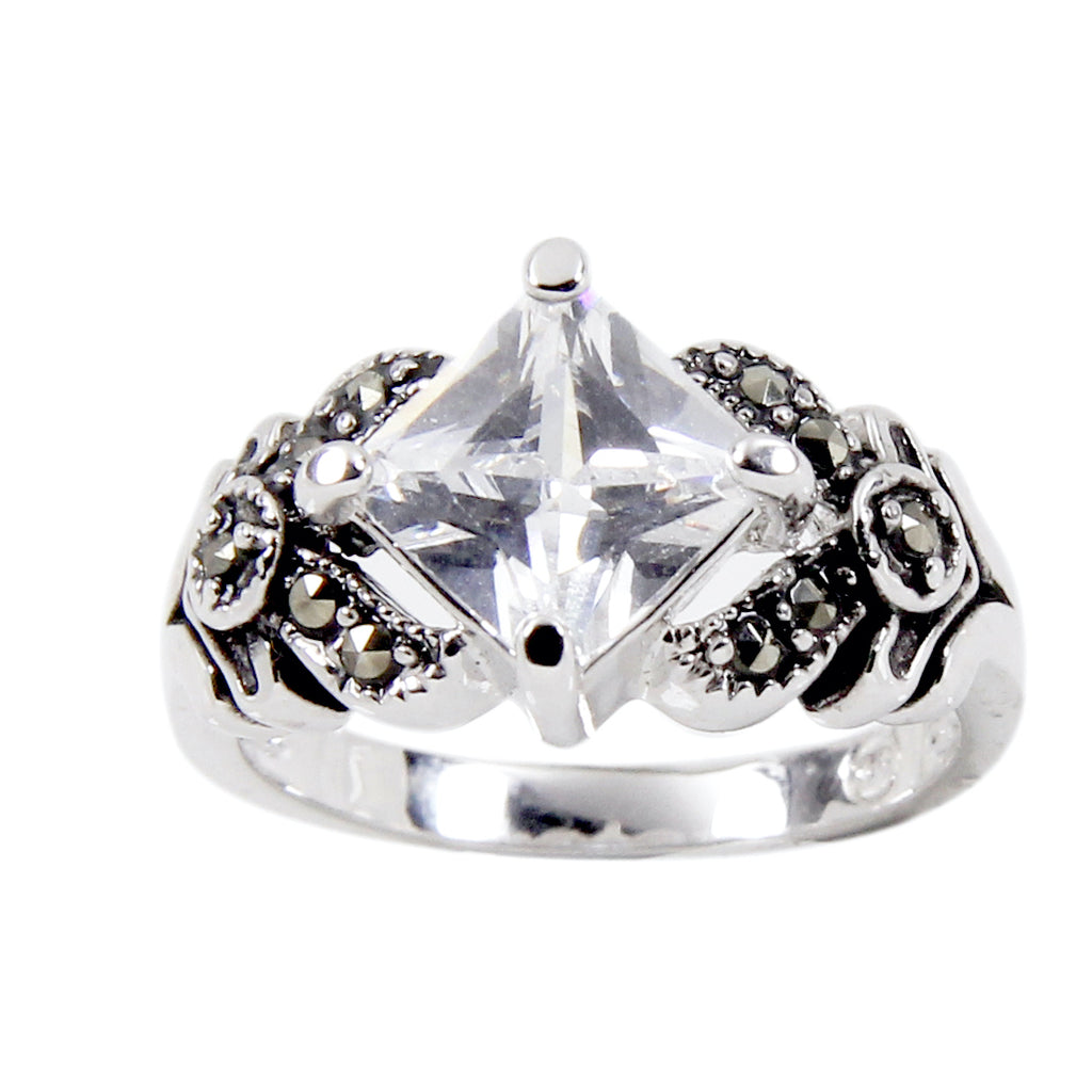 Sterling Silver Clear Special Square Cut Antique Detail Ring