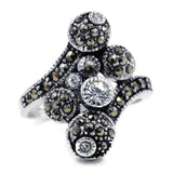Marcasite Crystal Ball Antique Finish Ring