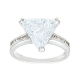 Big Trillion Cut Solitaire Channel Set Sides Clear Stones Ring