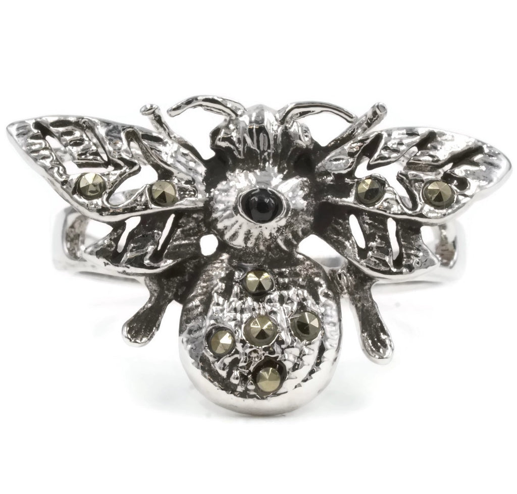 Exotic Bumble Bee Sterling Silver Real Marcasite Stones Ring