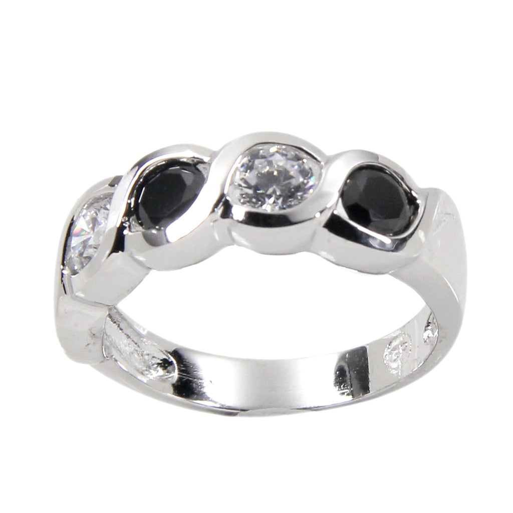 Impressive Sterling Silver Black Clear Alternating Bezel Ring