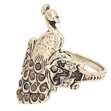 Vintage Looking Peacock Ring Set with Genuine Marcasite