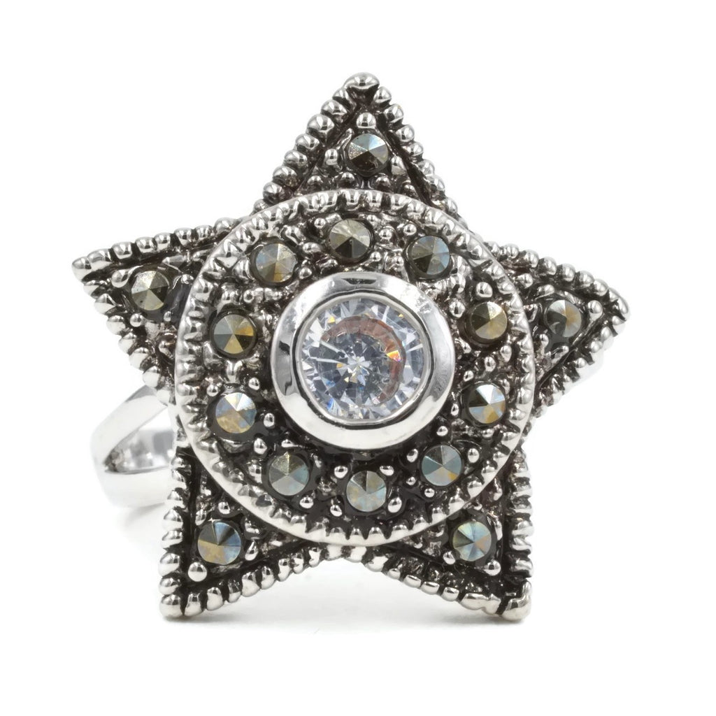 Five Pointed Star Genuine Marcasite Ring
