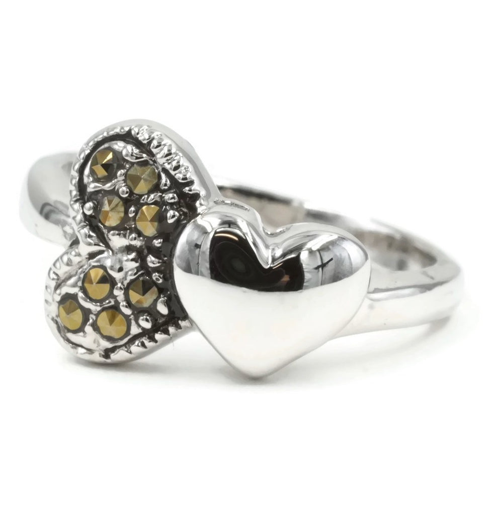 Double Heart Genuine Marcasite Ring