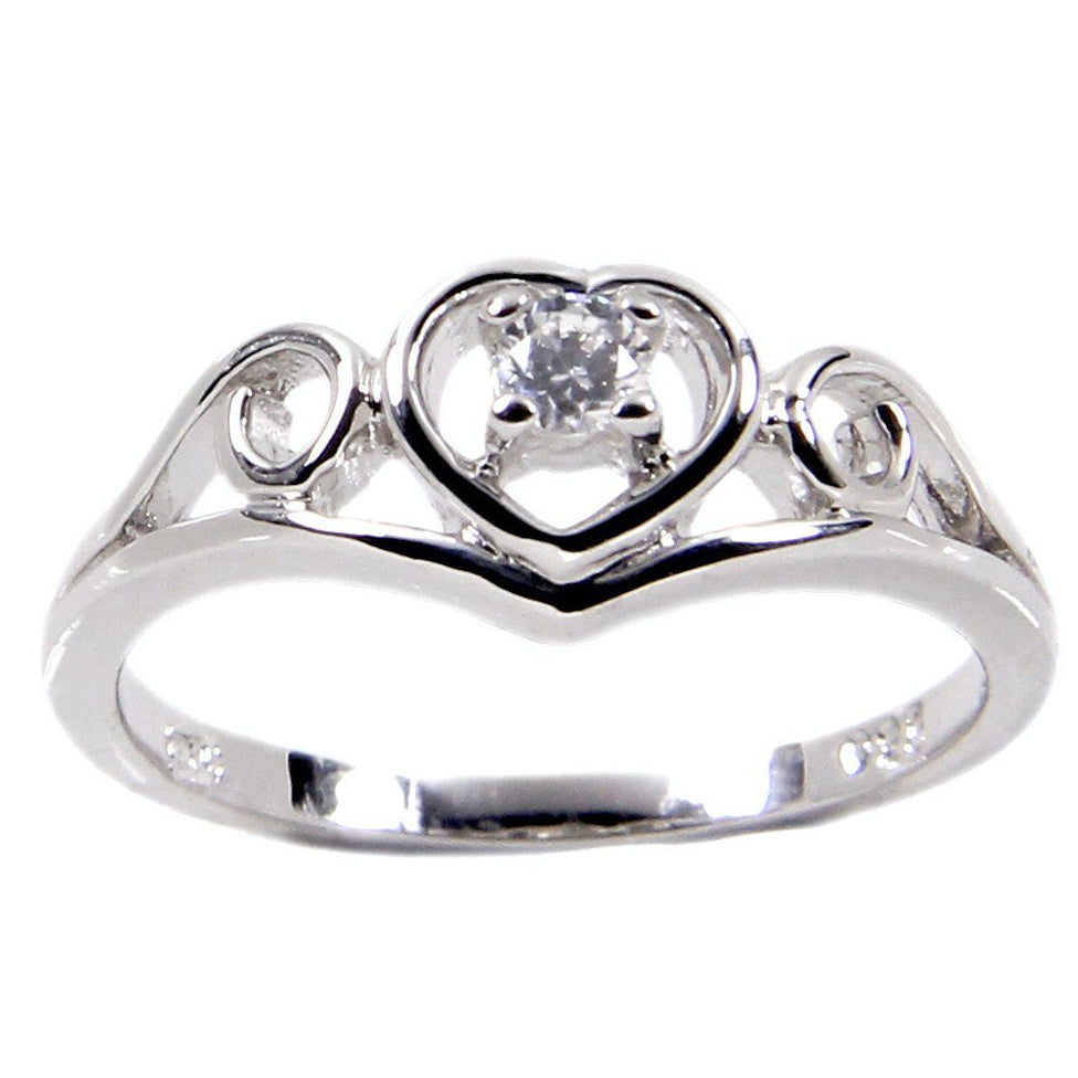 Vintage Style Sterling Silver Heart Frame Swirl Ring
