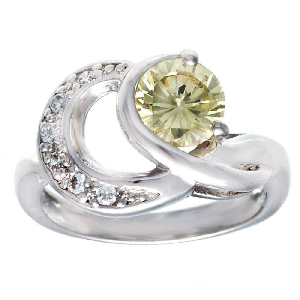New Double Loop Openwork Pale Yellow Stone Ring