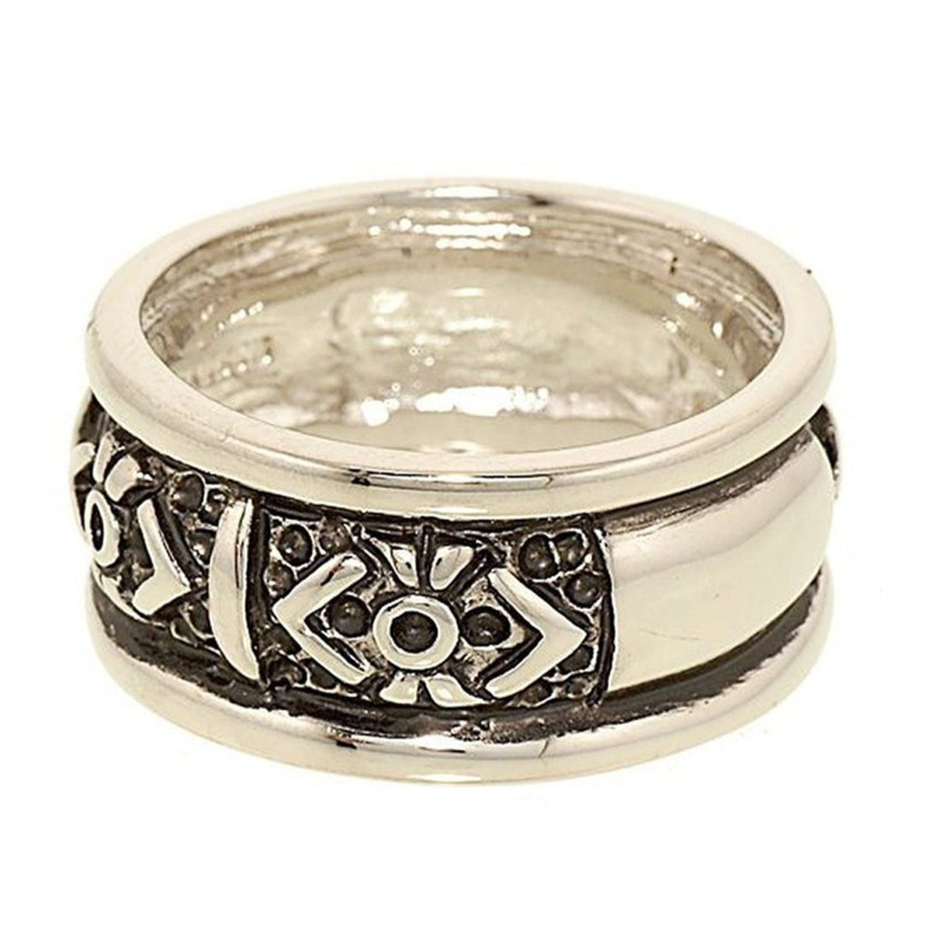 Abstract Band Dark Accent Rhodium Plated Ring