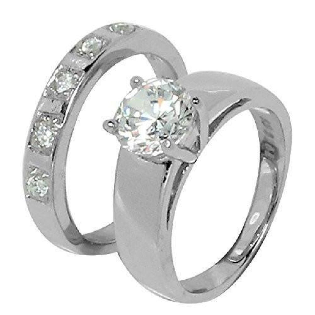 Beautiful Two-Piece Wedding Set 5 CZ Stone Band Ring