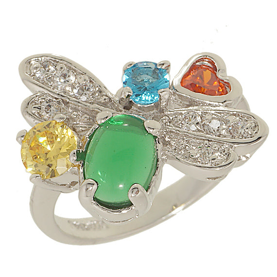 Abstract Exclusive Dragonfly Multi Color Clear Stones Ring