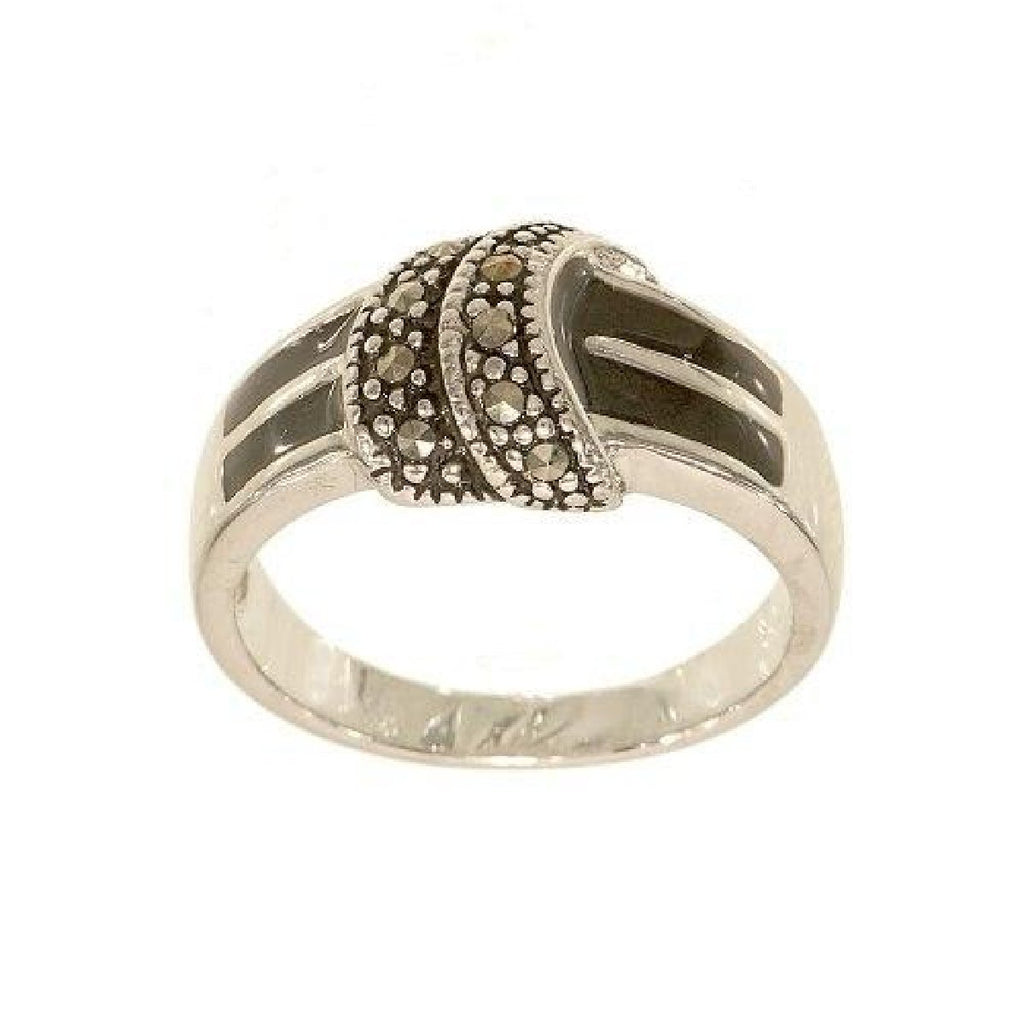 Contemporary Knot Genuine Marcasite Black Ring