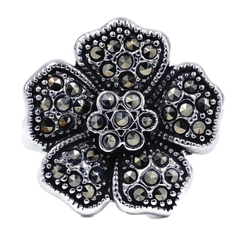 Perfect Size Exclusive Marcasite Flower Ring