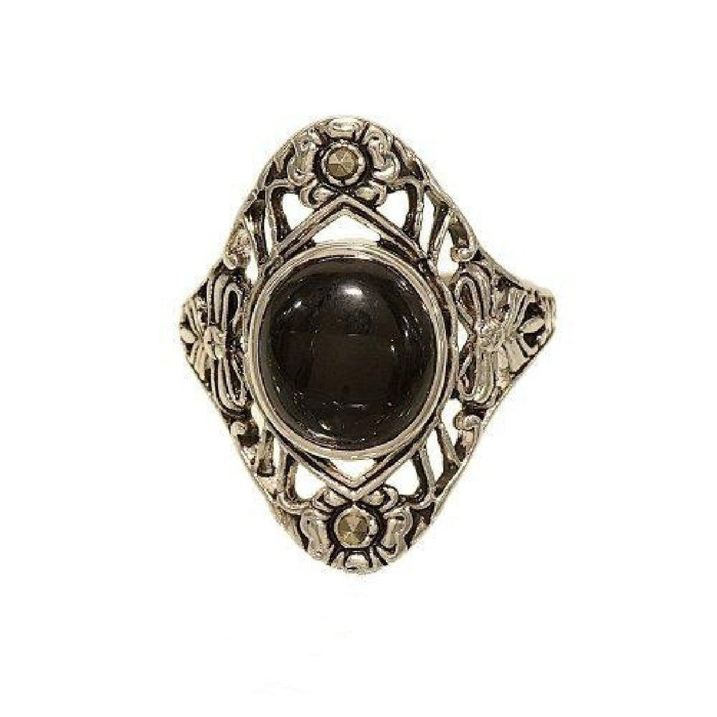 Antique Reproduction Cabochon Black Onyx Tiny Marcasite Ring