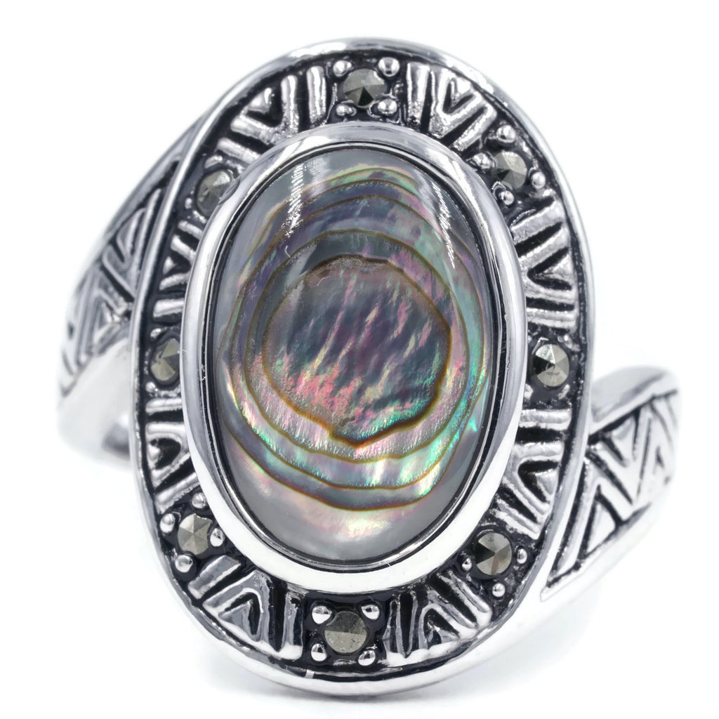 New Aztec Design Genuine Abalone Shell Marcasite Ring