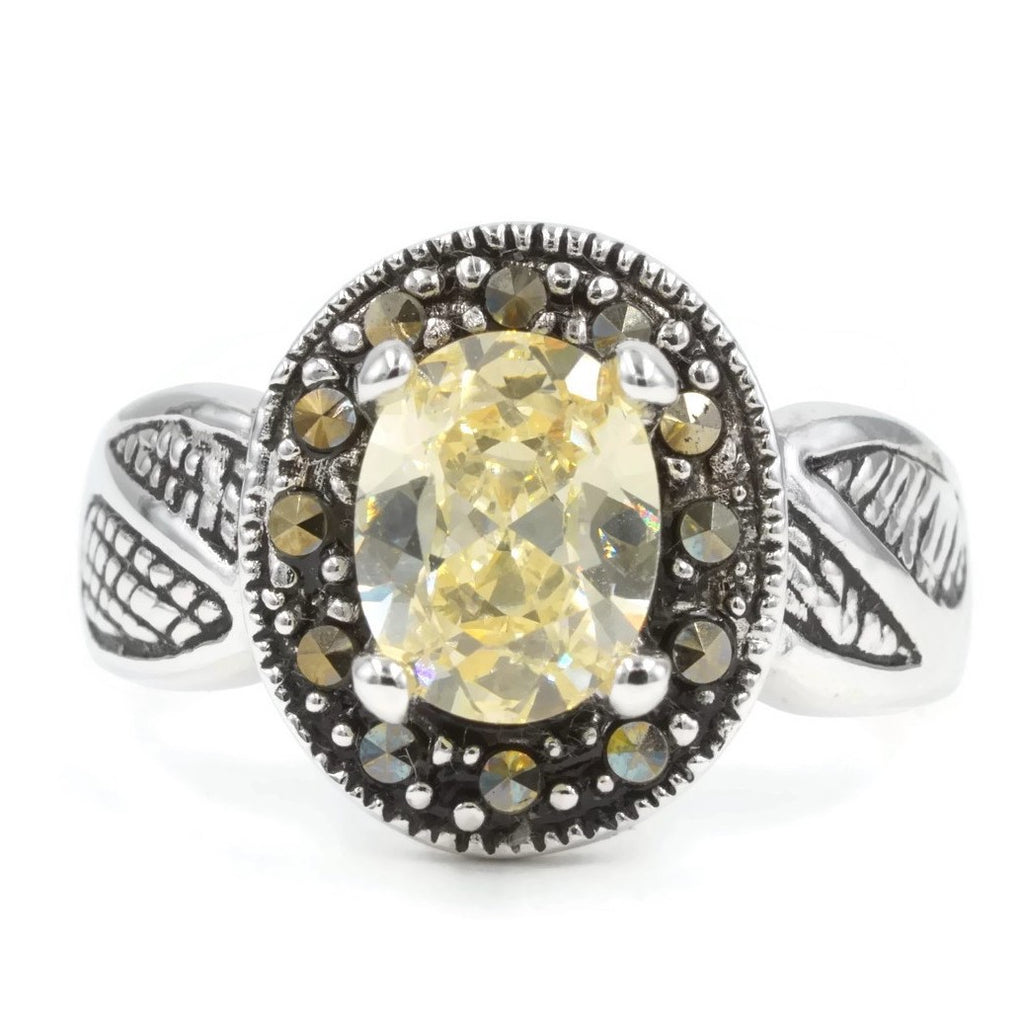 Exclusive Real Marcasite Oval Yellow Stone Antique Detail Ring