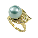 Round Teal Simulated Pearl Gold Leaf Shape