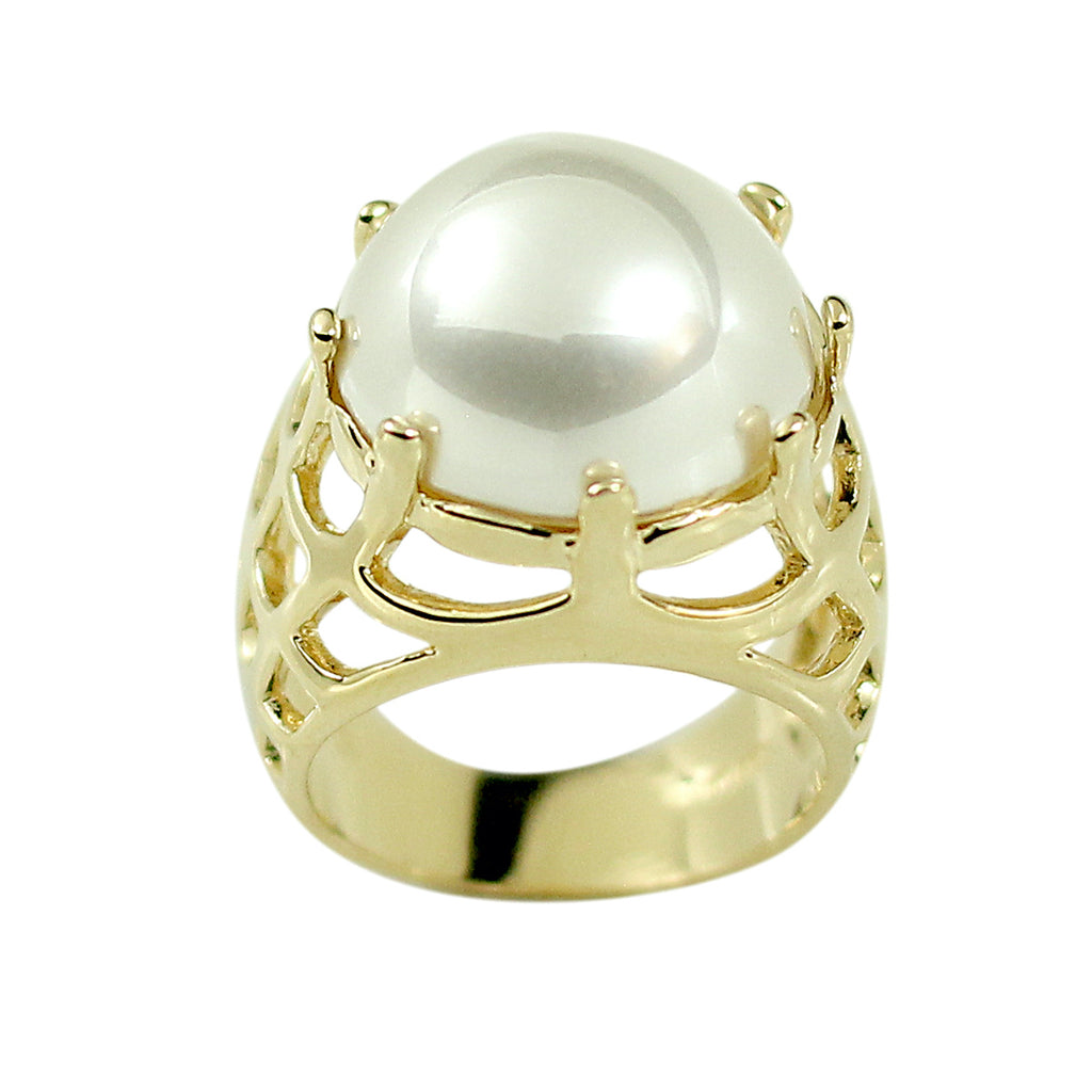 Beautiful Round Cabochon Cut Simulated Pearl Caged Detail Ring