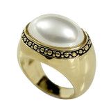 Antique Style Oblong Cabochon Simulated Pearl Ring